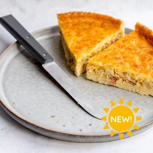Ham, Roasted Onion and Cheddar Quiche